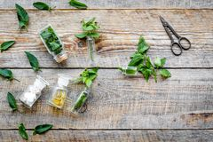 Medicinal herb in bottles on wooden background top view copyspace Royalty Free Stock Photography