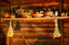 Medicinal herbs on ancient shelf stock images