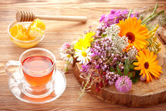 Medicinal herbs, Herbal tea and flowers Royalty Free Stock Photography