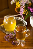 Medicinal herbs, honey, herbal tea Stock Photo