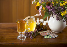 Medicinal herbs, honey, herbal tea Stock Images