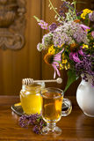 Medicinal herbs, honey, herbal tea Royalty Free Stock Image