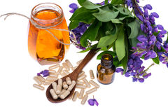 Medicinal herbs, honey,  natural capsules and pills in medicine Stock Images
