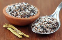 Medicinal herbs. Isabgol and yastimadhu stock images