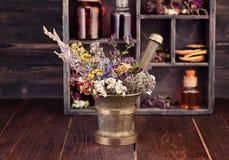 Medicinal herbs mortar and bottles tincture. Herbal medicine concept Stock Photos