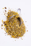 Medicinal herbs perfect for flu - white background. Royalty Free Stock Photography