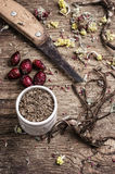 Medicinal herbs and roots Royalty Free Stock Image