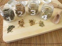 Medicinal herbs samples Stock Images