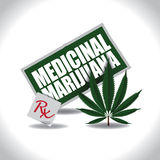 Medicinal Marijuana icon with prescription Stock Photography