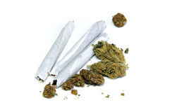 Medicinal marijuana on white Stock Photo