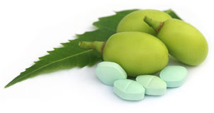 Medicinal neem fruits with tablets Royalty Free Stock Photography