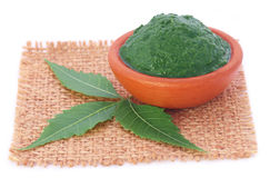 Medicinal neem leaves with paste Stock Photo