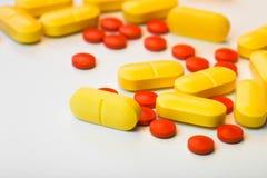 Medicinal pills. Piled up a bunch of closeup Royalty Free Stock Image