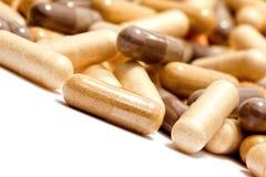 Medicinal pills piled up a bunch. Of closeup Royalty Free Stock Photography