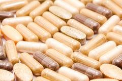 Medicinal pills piled up a bunch. Of closeup Royalty Free Stock Image