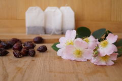 Medicinal plants - eglantine. Flowers and fruit for flavored teas Stock Photo