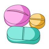 medicinal tablets Enkel symbol för medicin i tecknad filmstilrater, rengöringsduk för illustration för bitmapsymbolmateriel royaltyfri illustrationer