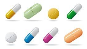 medicinal tablets Fastställda minnestavlor av olika färger Isolerade objekt på vit bakgrund stock illustrationer
