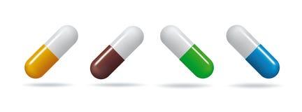 medicinal tablets Fastställda minnestavlor av olika färger Isolerade objekt på vit bakgrund vektor illustrationer