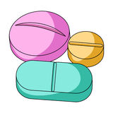 Medicinal tablets.Medicine single icon in cartoon style rater,bitmap symbol stock illustration web. Stock Photography