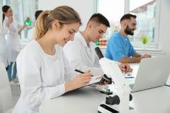 Medicinare som arbetar i vetenskapligt laboratorium royaltyfri bild