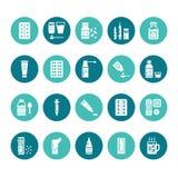 Medicinas, ícones do glyph dos formulários de dosagem Farmácia, tabuleta, cápsulas, comprimidos, antibióticos, vitaminas, analgés ilustração royalty free