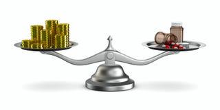 Medicinas e dinheiro em escalas Fotos de Stock