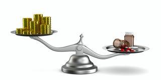 Medicinas e dinheiro em escalas Fotografia de Stock Royalty Free