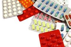 Medicinas en un fondo blanco Fotografía de archivo