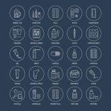 Medicinas, linha ícones dos formulários de dosagem Medicamento da farmácia, tabuleta, cápsulas, comprimidos, antibióticos, vitami ilustração stock