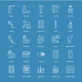 Medicinas, linha azul ícones de formulários de dosagem Medicamento da farmácia, tabuleta, cápsulas, comprimidos, antibióticos, vi ilustração stock