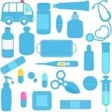 Medicinas, píldoras, equipamientos médicos en azul Imágenes de archivo libres de regalías