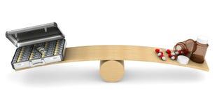 Medicinas y dinero en escalas 3D aislado Fotos de archivo libres de regalías