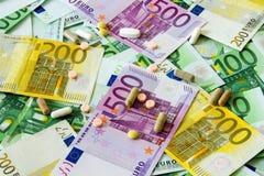 Medicinas y el euro Imagen de archivo