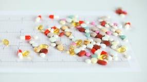 Medicinbakgrundsbegrepp drogerna, preventivpillerarna, kapseln, minnestavlorna och förpacka på wood tabelltexturbakgrund Royaltyfria Bilder