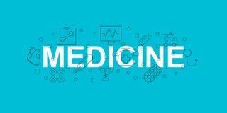 Medicinbaner Ord med linjen symbol Det kan vara nödvändigt för kapacitet av designarbete royaltyfri illustrationer