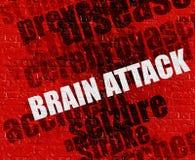 Medicinbegrepp: Brain Attack på röda Brickwall stock illustrationer