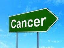 Medicinbegrepp: Cancer på vägmärkebakgrund royaltyfri illustrationer