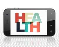 Medicinbegrepp: Smartphone med hälsa på skärm Royaltyfri Bild
