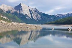 Medicine湖,贾斯珀国家公园 免版税库存照片