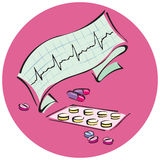 Medicine. Collage of heartbeat graph and medicines Stock Photos