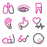 Medicine 2 web icons, pink contour series Royalty Free Stock Photography