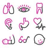 Medicine 2 web icons, pink contour series. Vector web icons, pink contour series Royalty Free Stock Photography