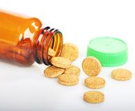 Medicine. The pills and tablets of herbal supplement contain vitamin and minerals Royalty Free Stock Photo