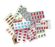 Medicine. A lot of medicine isolated on white background Stock Photos