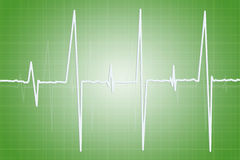 Medicine and all things related. Electrocardiogram - illustration of human heart activity on green background Royalty Free Stock Image