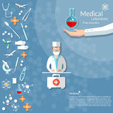 Medicine ambulance doctor first aid kit medical background Royalty Free Stock Photos