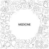 Medicine background from line icon. Linear  pattern Stock Photo