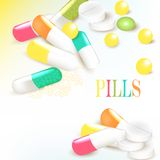 Medicine background with multicolored pills Stock Images