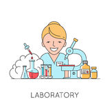 Medicine background with  nurse, medical and lab equipments Stock Image